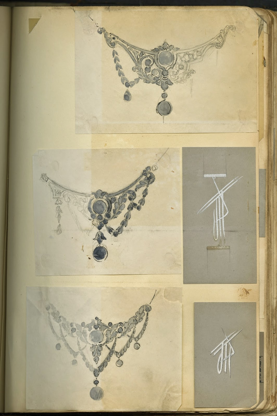 A page of three sketches for ornate necklaces.