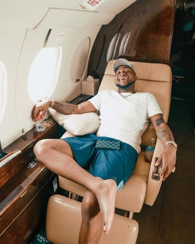 "Davido broadcasts his Private Jet ""has landed"" (Photo)"