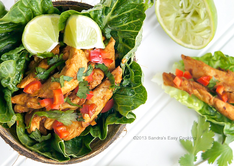 Easy, light, flavorful and delicious Thai Chicken with Lettuce