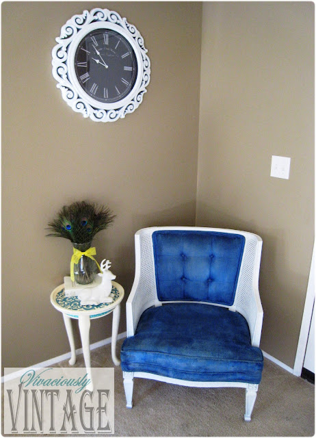 Vintage Royal Blue and White Tufted Chair