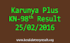KARUNYA PLUS KN 98 Lottery Result 25-02-2016