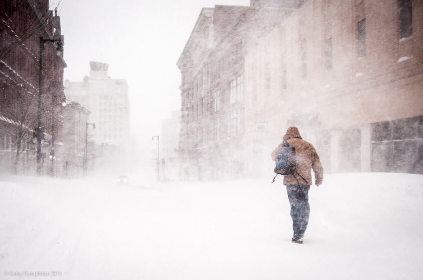 Portland, Maine USA February 2013 photo by Corey Templeton of walking in the snow blizzard on Congress Street.