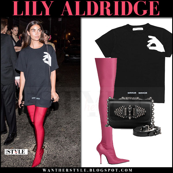 Lily Aldridge in black print t-shirt off-white, red balenciaga knife boots at Met Gala afterparty 2017 what she wore