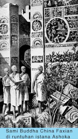 Sami Buddha China Faxian di runtuhan istana Ashoka
