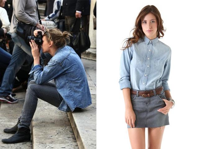 look chemise en jeans