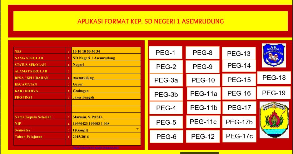 Aplikasi Administrasi Kepala Sekolah Sd 2017 2018 Excel Administrasi Kepala Sekolah Sd Smp