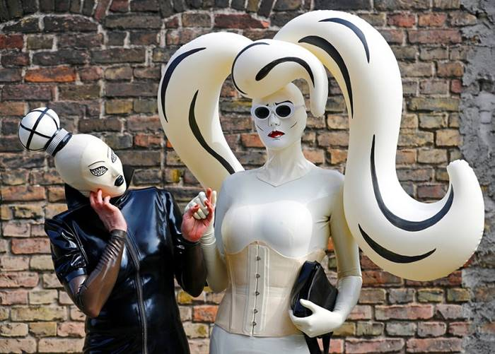 "Visitors to the fair ""German Fetish Ball."" Berlin, May 13th. By: Hannibal Hanshke"