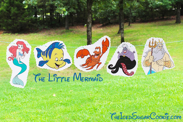 DIY The Little Mermaid Birthday Party Flag Hanging Banner Ideas- Ariel, Flounder, Sebastian, Ursula, King Triton The Iced Sugar Cookie