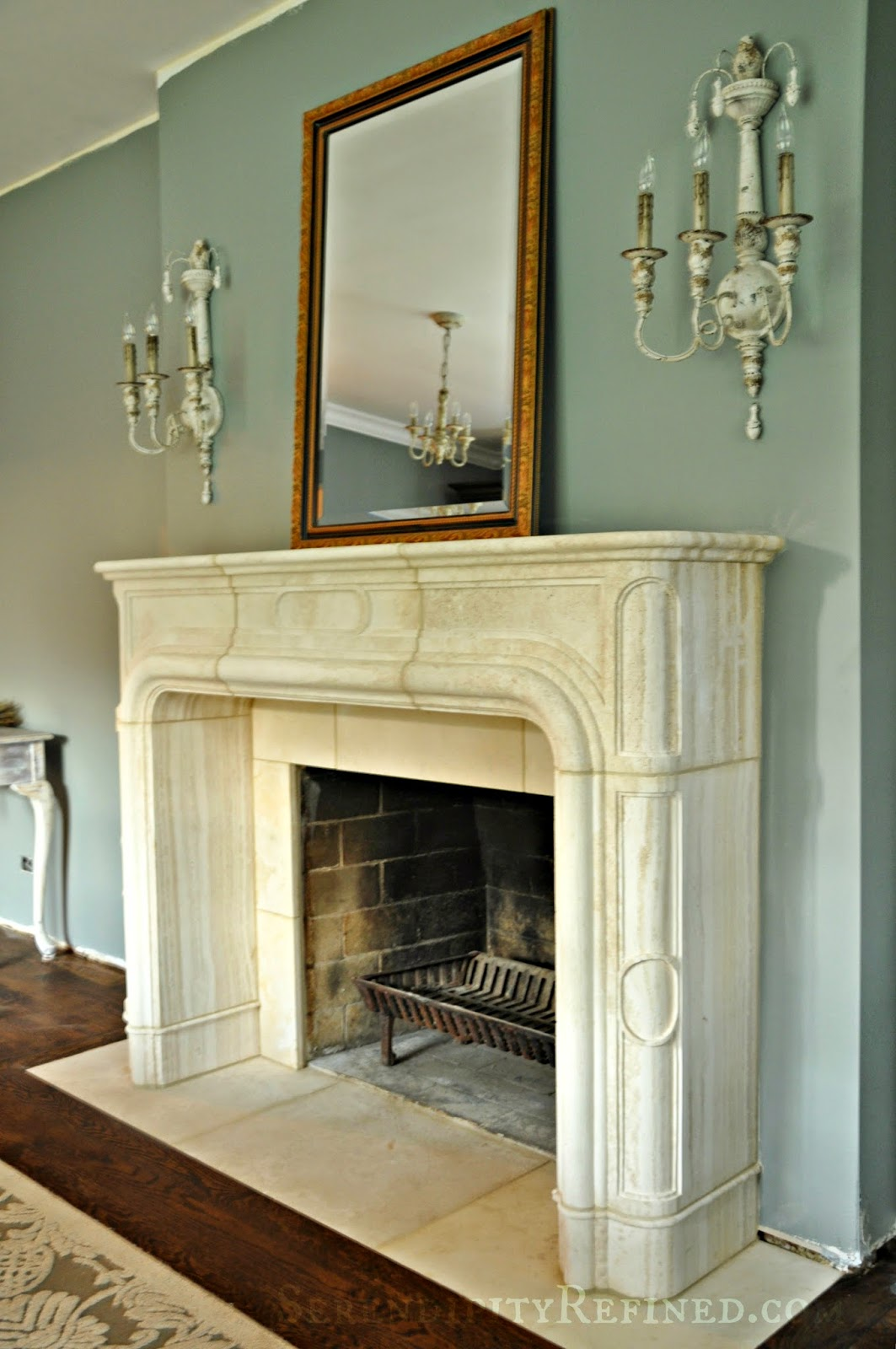 Serendipity Refined Blog French Replica Limestone Fireplace