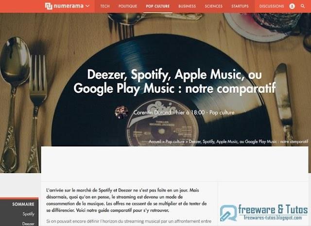 Le site du jour : Comparatif des services de streaming musical