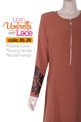 Jubah Umbrella Lace JEL-28 Persian Brown Depan 8