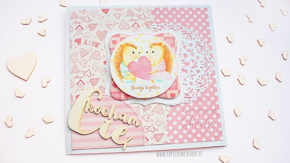 kartka handmade rękodzieło dla zakochanych jeżyki serca na walentynki I love digi digi stemple cyfrowe stemple