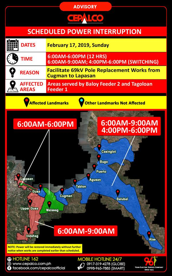 CEPALCO Scheduled Power Interruption on Sunday, February 17, 2019 Cugman to Lapasan Area