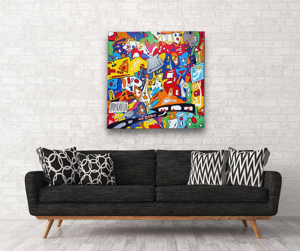 contemporary, art, graffiti, abstract, painting, modern abstract, large art, Sam Freek,