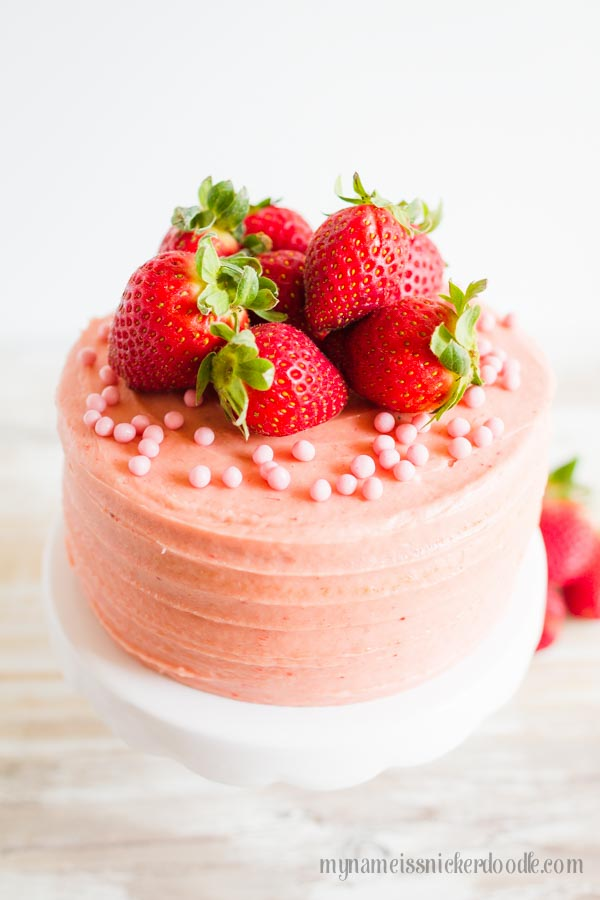 An easy and delicious recipe for Strawberry Butter Cream Frosting using fresh strawberries!     mynameissnickerdoodle.com