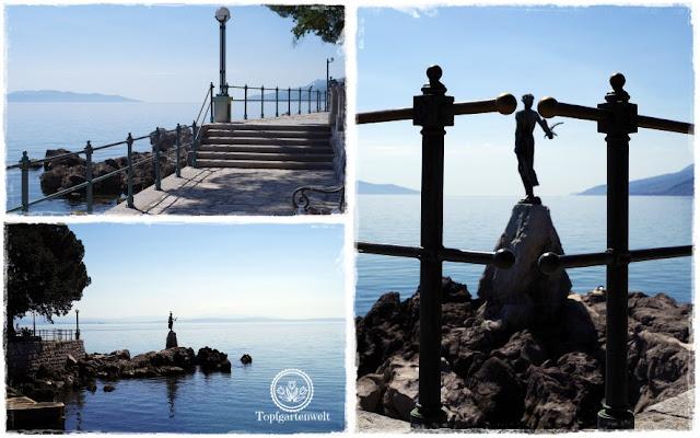 Gartenblog Topfgartenwelt Kroatien: Mädchen mit der Möwe beim Lungo Mare in Opatija