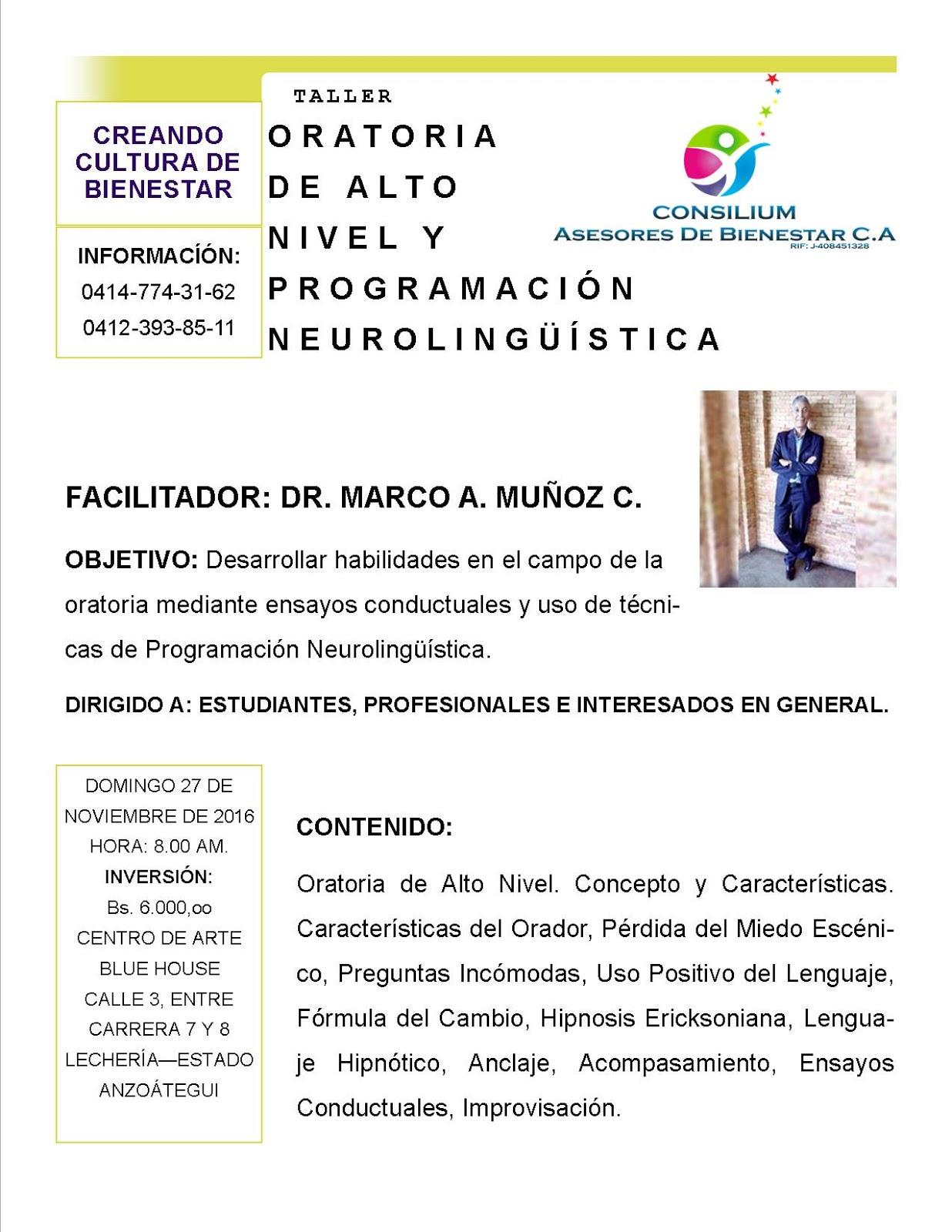 Profesor Marco Muñoz: ORATORIA DE ALTO NIVEL Y PNL. TALLER PARA ...