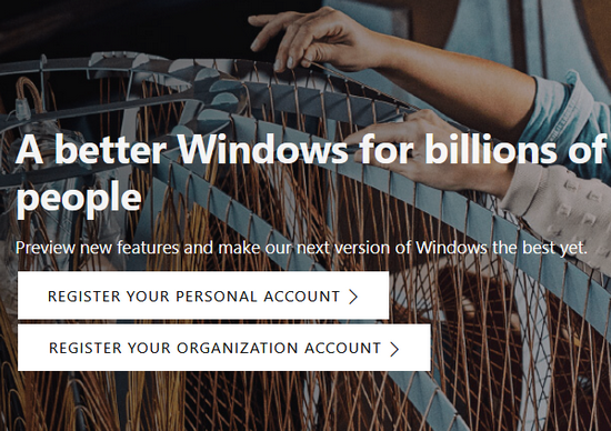 Register for Windows insider program