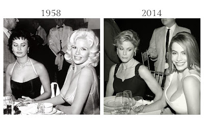 Curiosa foto del descote Sophia Loren y Jayne Mansfiel 1958 y Julia Bowen y Sofía Vergara 2014