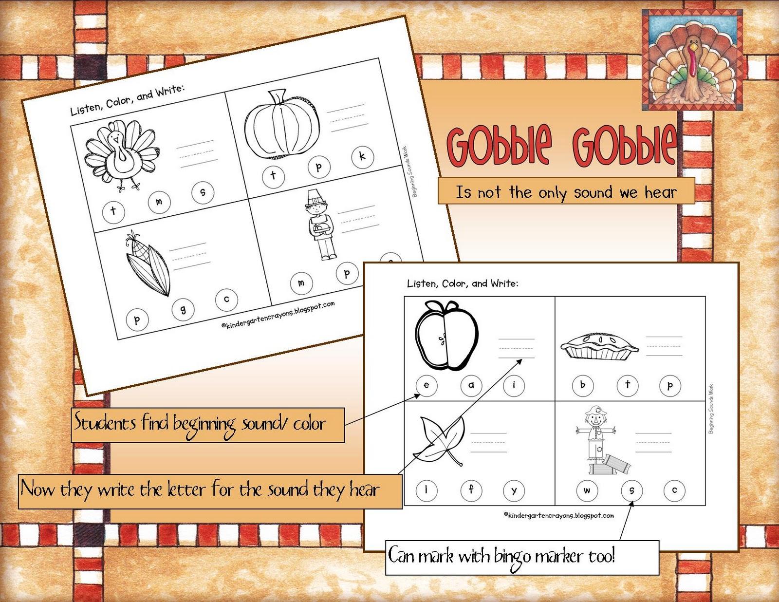 Kindergarten Crayons Gobble Gobble Thanksgiving Sounds