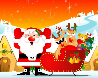 Awesome Christmas santa claus red wallpaper