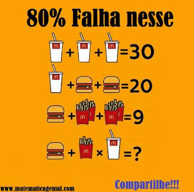 Desafio dos lanches -  Quanto vale o refrigerante, hambúrguer e a batata?