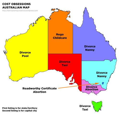 Cost obsessions Australian map