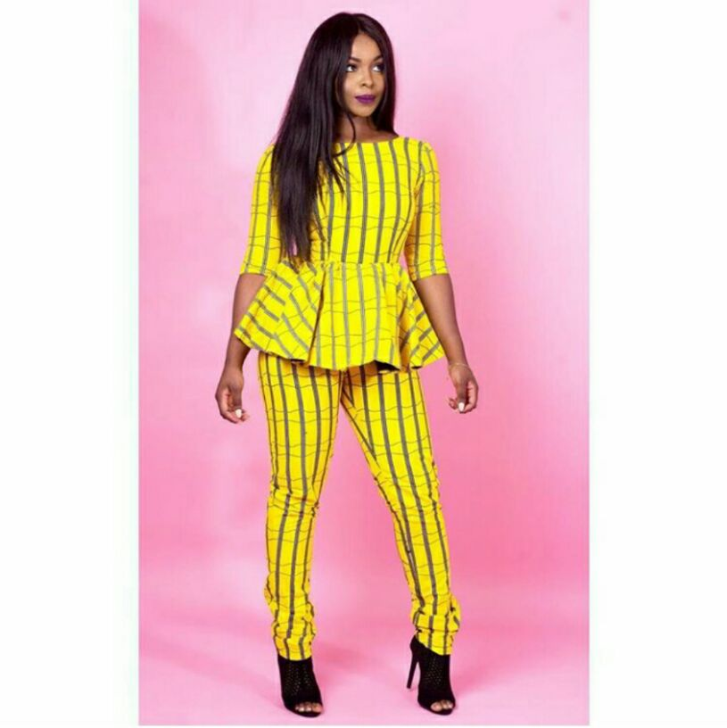 ankara outfit- Yellow and ash striped