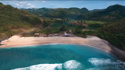 A royalty free of aerial drone shot of Mawi Maui Beach in Lombok