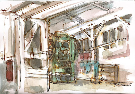 Portland sketching at an old foundry