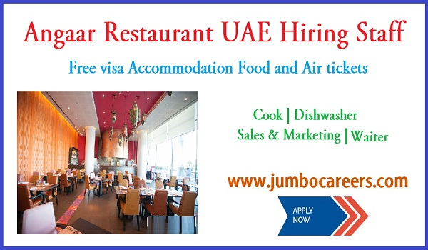 UAE restaurant job for Indians, UAe jobs with salary and benefits,