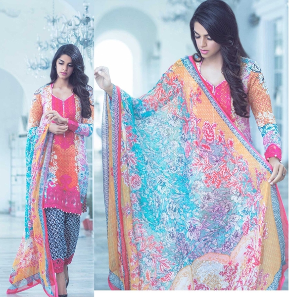 Farah Talib Aziz Crimson Lawn 2016 Catalogue