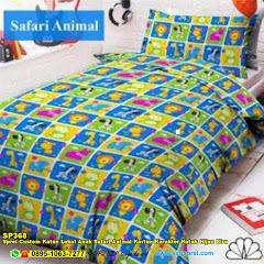 Sprei Custom Katun Lokal Anak Safari Animal Kartun Karakter Kotak Hijau Biru