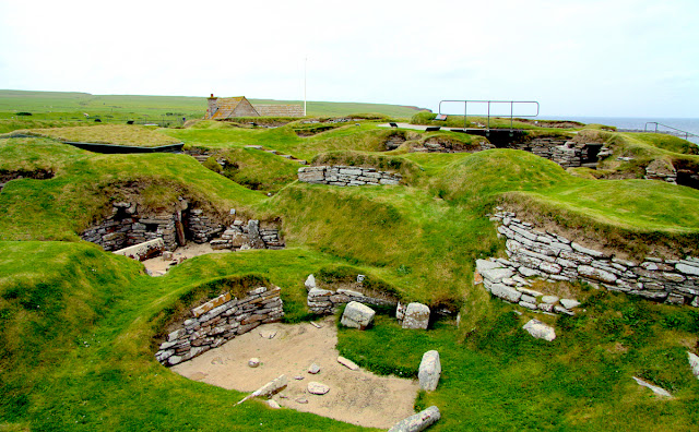 A view of Skara Brae, a stone-built Neolithic settlement on the Bay of Skaill