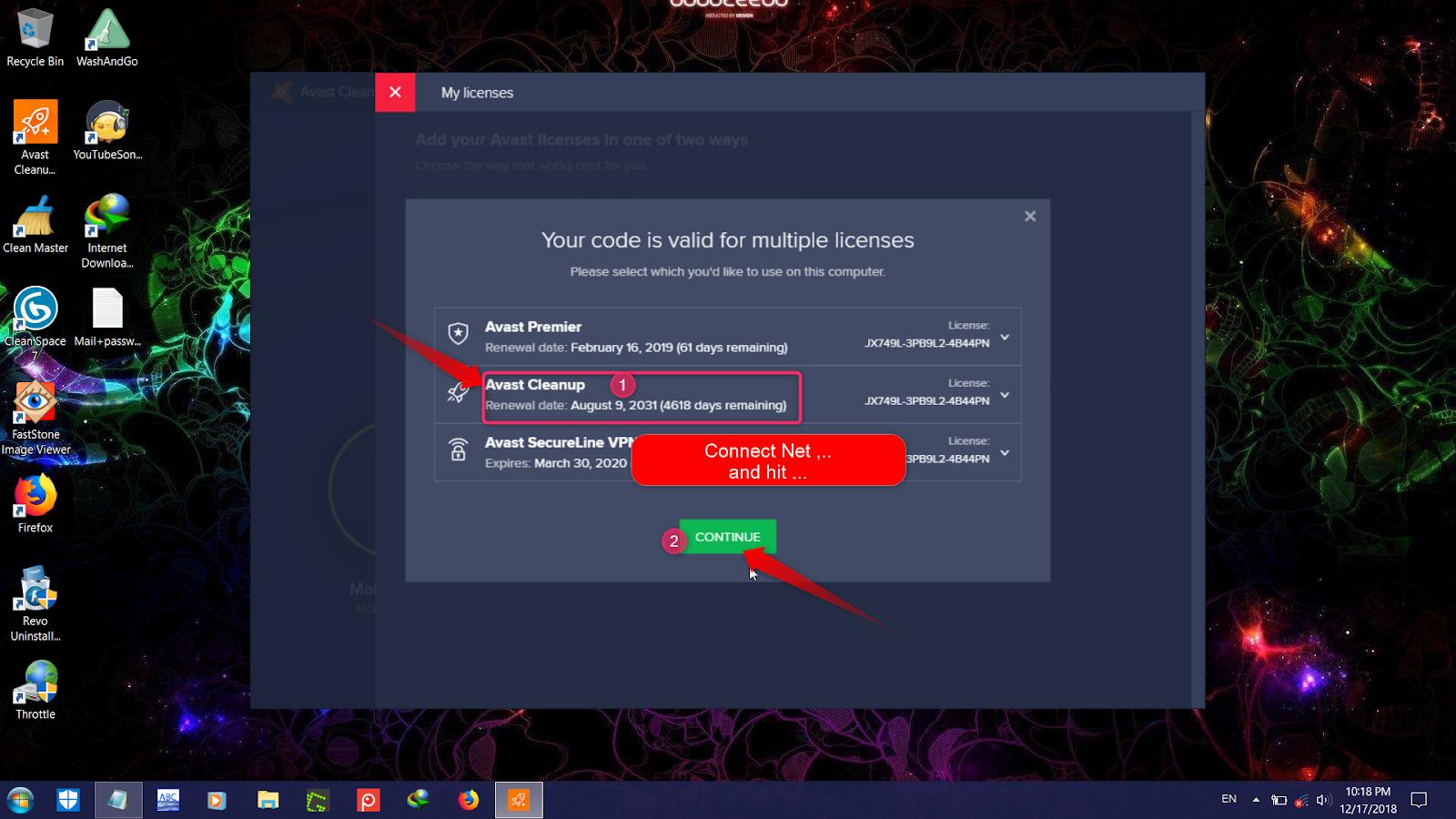 code dactivation avast cleanup premium 2018