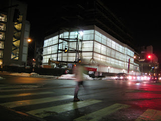 MIT's Koch building under construction in the winter