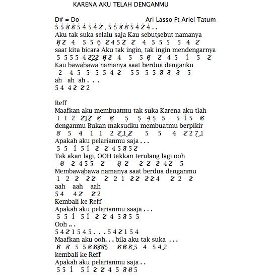 Not Angka Pianika Lagu Ari Lasso Feat Ariel Tatum