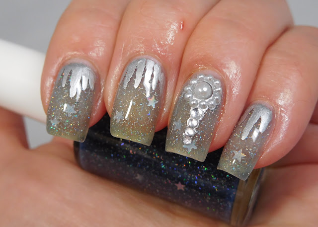Dixie Plates Nail Gems 01 over Shinespark Polish Snowfall--cold look