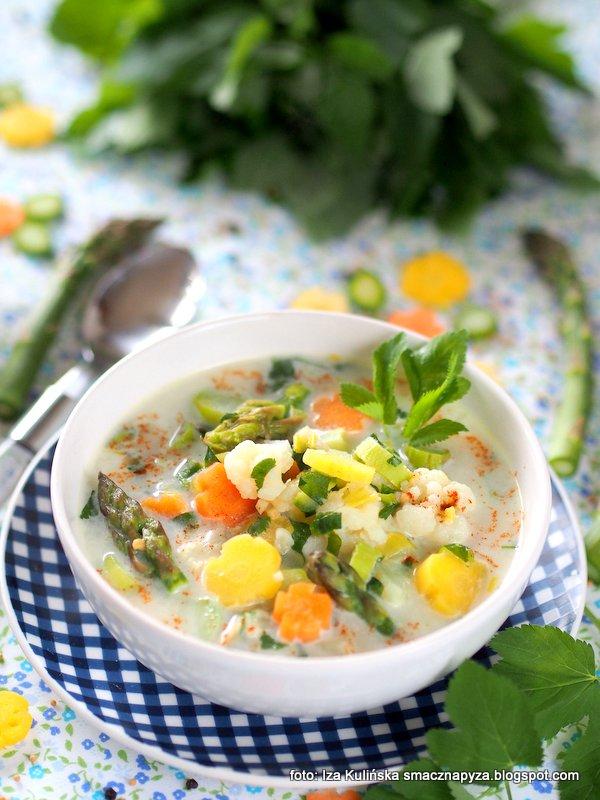 zupa jarzynowa, lekka zupka, gęsta zupa warzywna, warzywa, szparagi, podagrycznik, obiad bezmiesny,