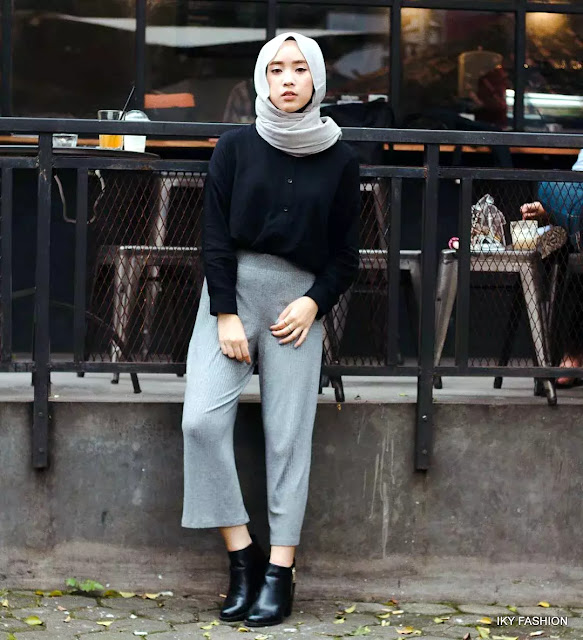 model Celana Kulot Warna Abu-Abu cewek hijabers