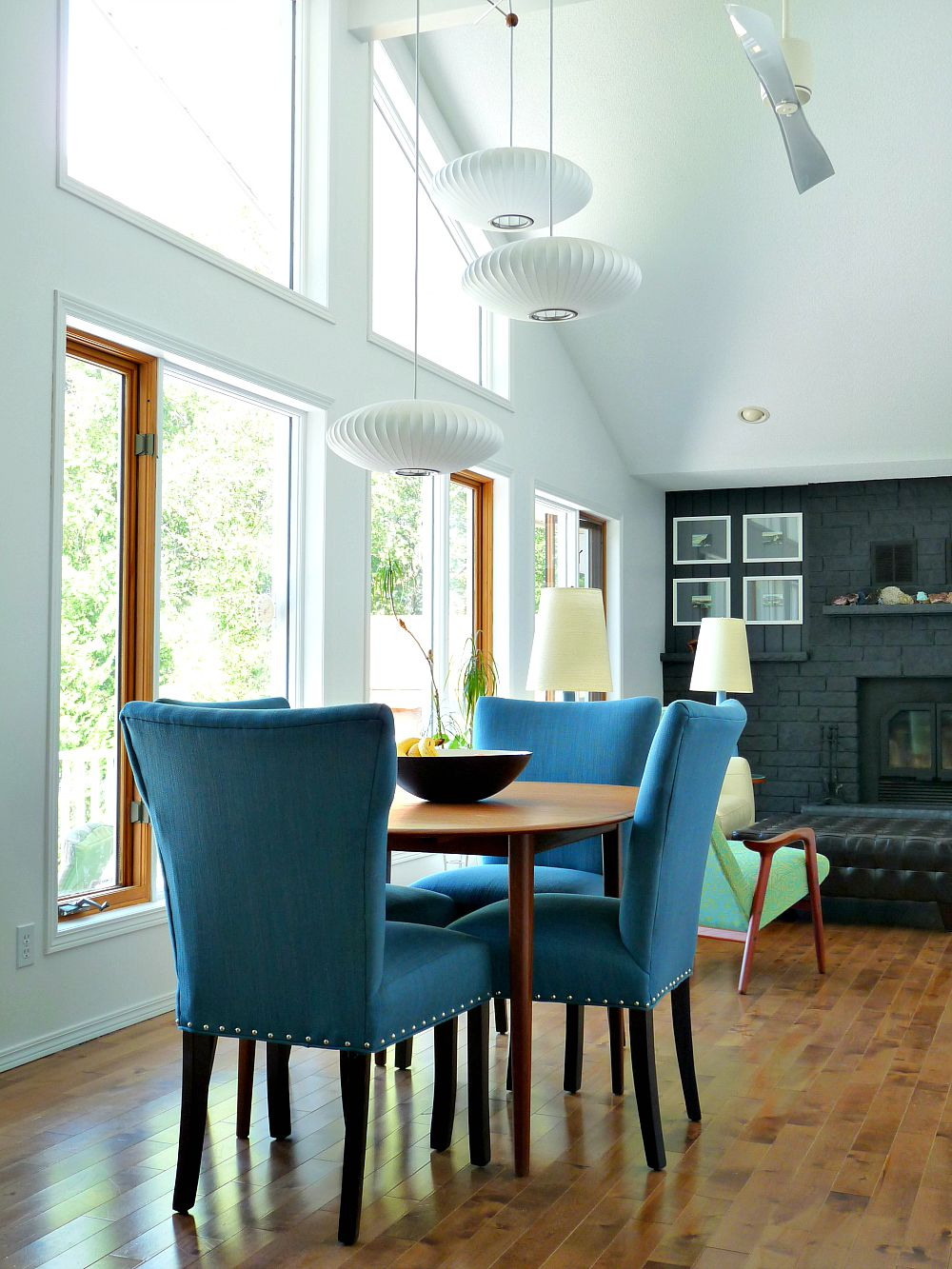 teal colored chairs harmony high chair recall new blue tweed dining room update the dans le and modernica bubble light