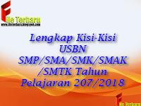 Lengkap Kisi-Kisi USBN SMP/SMA/SMK/SMAK/SMTK Tahun Pelajaran 207/2018