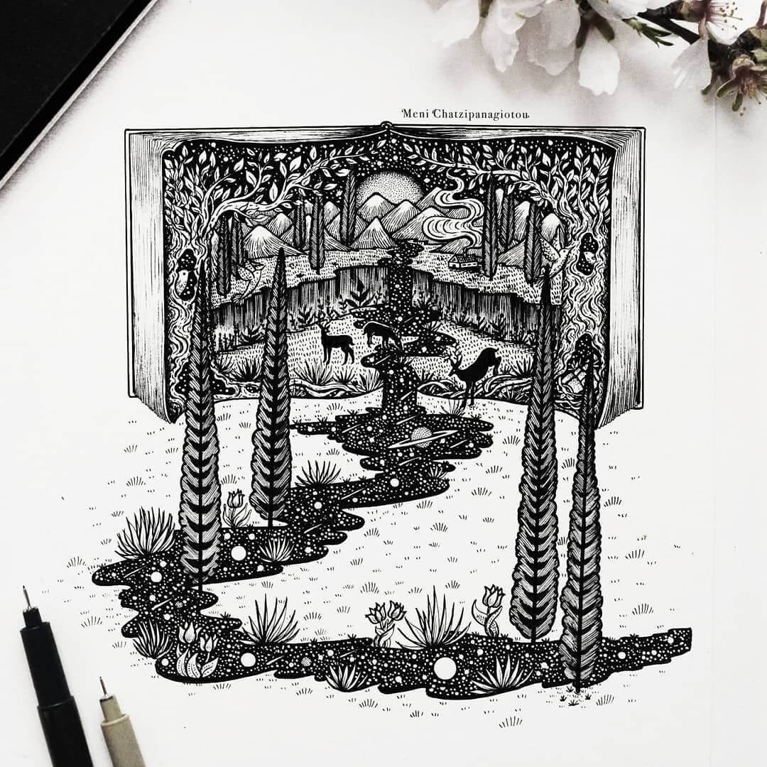 08-Imagination-Meni-Chatzipanagiotou-Fantasy-and-Surrealism-in-Ink-Illustrations-www-designstack-co