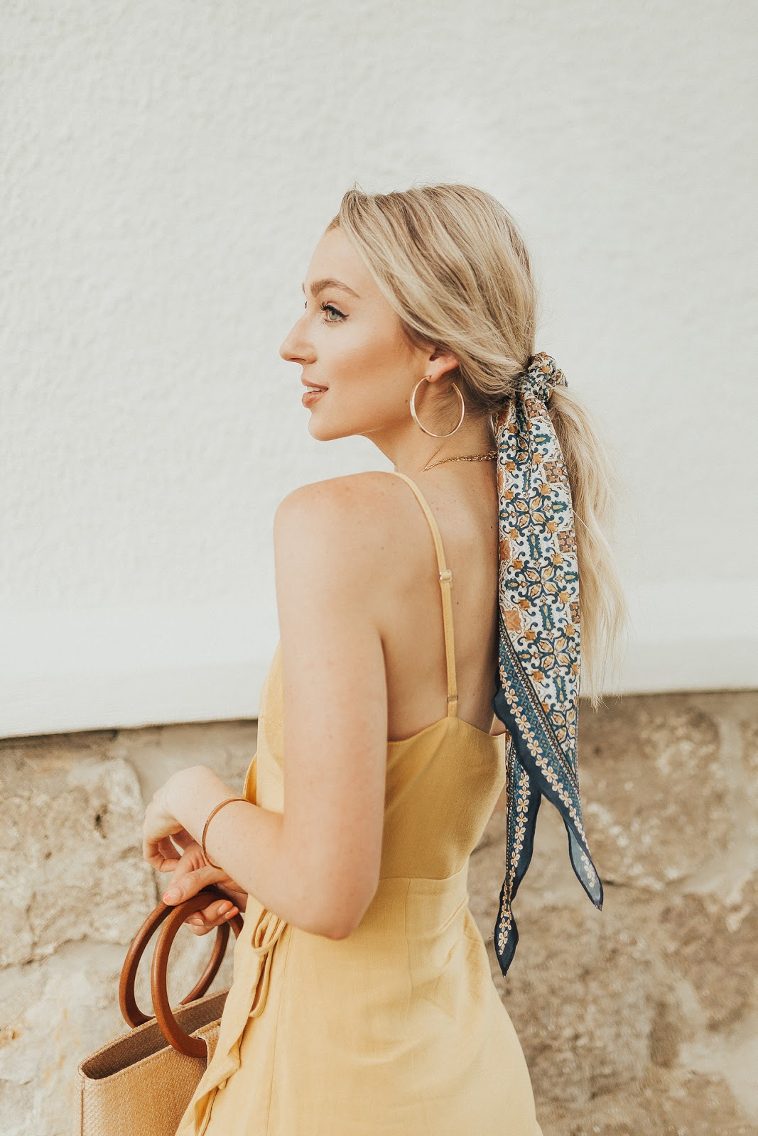 printed hair scarf with a ponytail