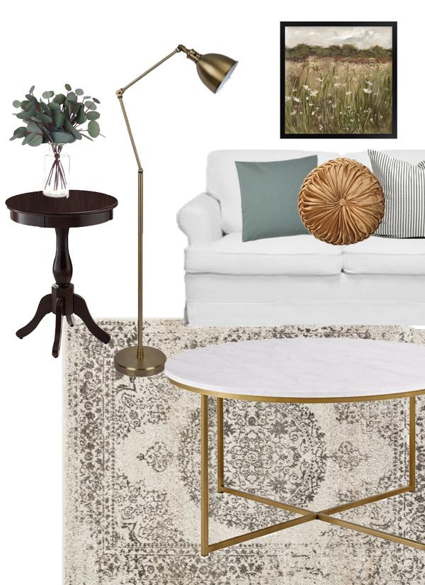 Mood board design plan vintage modern farmhouse living room
