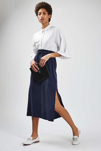black paperbag skirt,