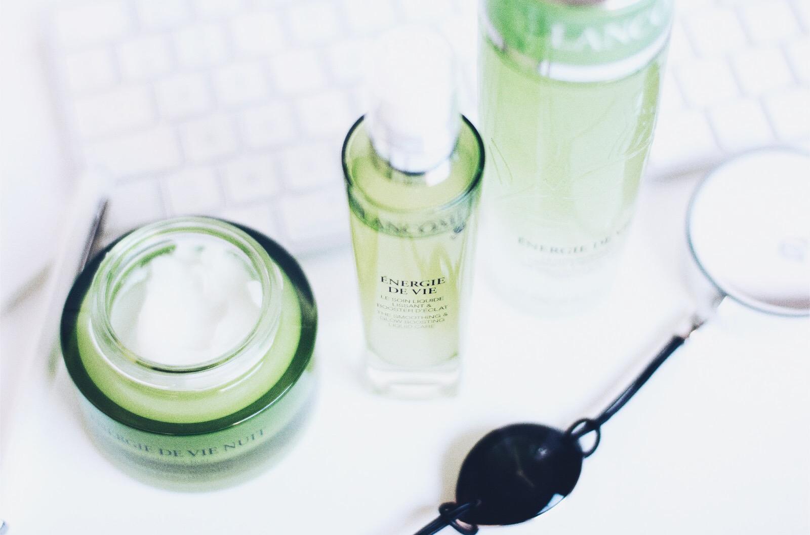 lancome energie de vie soins visage lotion perlee soin liquide masque de nuit avis test