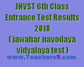 JNVST 6th Class Entrance Test Results 2018(jawahar navodaya vidyalaya test)
