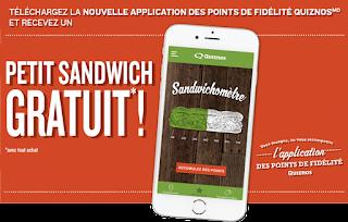 Quiznos petit sandwich gratuit
