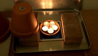 Typical flower pot / tea light emergency room heater
